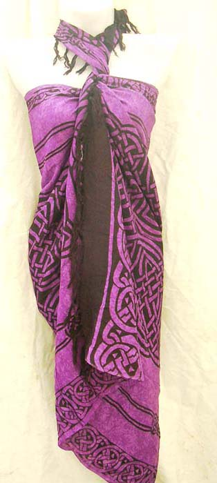 Swim wear accessory shopping online, crafted square celtic knot motif on purple resort bikini wrap