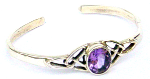 Celtic jewelry wholesale supplier supply celti sterling silver bangle with oval amethyst gemstone design