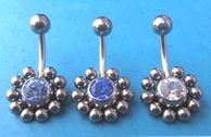 Germ stone body jewelry wholesale -- Fashion body jewelry with ten small ball around the centre cz stone