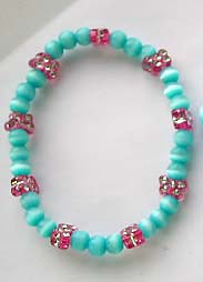 Cat eye bracelet wholesale - Fashion cat eye bracelet with sky blue and red color cat eye stone pattern