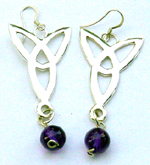 Fashion earring jewelry wholesale - Fashion sterling silver fish hook earring with purple stone ball design