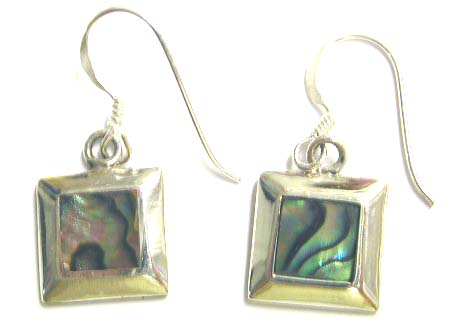 Earring jewelry factory wholesale supply - Fashion sterling silver fish hook earring with square shape abalone seashell inlaid