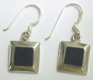 Jewelry manufacturer supplier supply 925. sterling silver fish hook earring motif square pattern with black onyx design