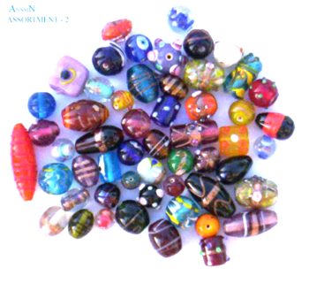 Glass bead jewelry wholesale - Multi color bead with assorted shaped and hole in each end side