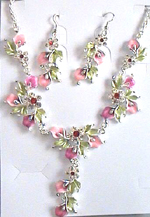Wholesale jewelryset - Fashion charm jewelry set with green leaf and pink flower design