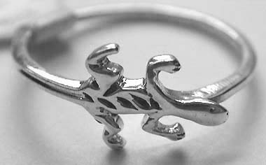 Quality silver ring jewelry wholesale suppliers - Fashion style design 925. sterling silver ring motif lizard feature