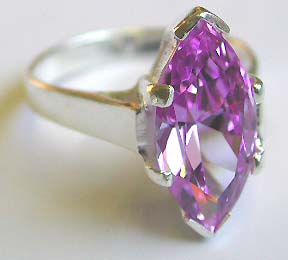 Unique rhinestone jewelry store wholesale supply 925.sterling silver ring motif long oliver shape with amethyst inlaid