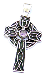 Celtic jewelry wholesale supply 925. sterling silver celtic pendant with amethyst inlaid in the middle