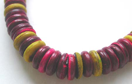 Online Bali jewelry wholesaler - Fashion Bali necklace with multi reddish and yellow flat bead design