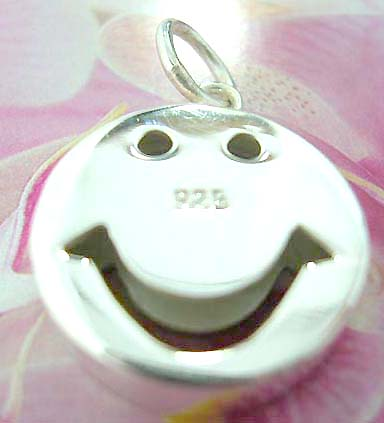 Happy face with cut-out eye hole and mouth design Thailand made solid sterling silver charm pendant