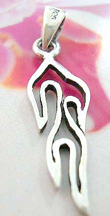 Celtic jewelry pendant made of 925. sterling silver in carved-out Celtic fire flame