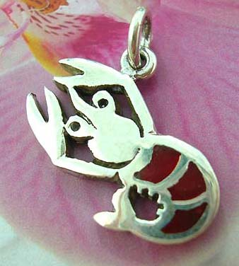 Lobster Thailand made solid sterling silver charm pendant with dyed ed seashell