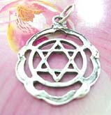 Thailand made solid sterling silver charm pendant in carved-out mystic double triangle in circle with wavy edge design