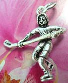 Sport spirit hocky player with stick design 925. Thailand made solid sterling silver charm pendant
