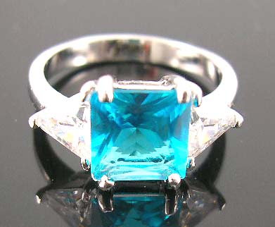 Shop online for cubic zirconia lover at wholesale price - rhodium ring with finest aqua cz paired clear cz stones