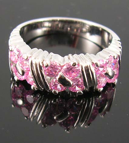 Wholesale custom cubic zirconia fashion gift jewelry for special event - rhodium ring with multi pink cz embedded in three square pattern design