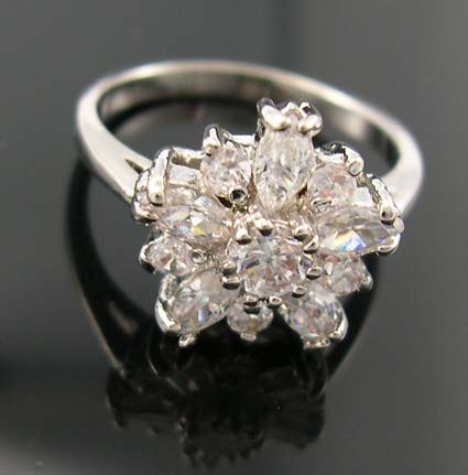 Perfect love diamond cz engagement ring wholesaler in flower shape design with multi clear cz embedded