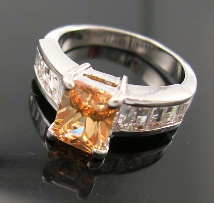 Shop love engagement cubic zirconia ring jewelry online supplier - light orange cz ring with multi clear mini clear cz