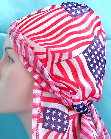 US head flag bandana, perfect gift shopping, American flag style wrinkle free polyester durag with long tie