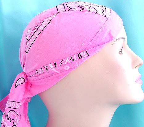 Pink lover head bandana scarves shop store wholesale - light pink with black pattern design cotton skullcap with tie