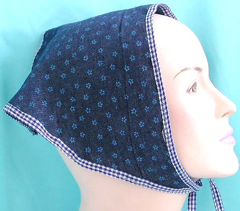 Delicate scarf of head covering accessory shop exporter, dark blue head bandana with white dot design