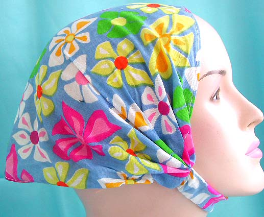 Shop bandana head supplies in flower theme for her - head scarf with stretchable end in multi color flower pattern design