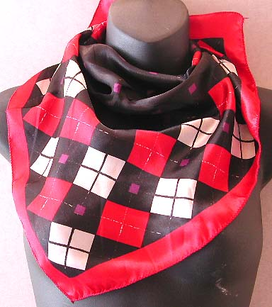 Trendy lady fashion Scotland scarf shop store, Scotland pattern dotted black center design fashion polyester neck chief