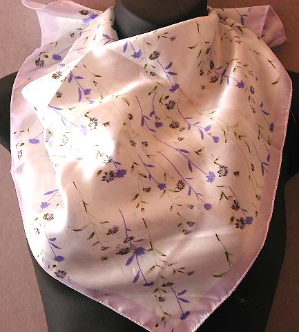 Delicate fashion scarves & neck chief for your lady - light purple color edge design neck chief with multi mini blue flower decor