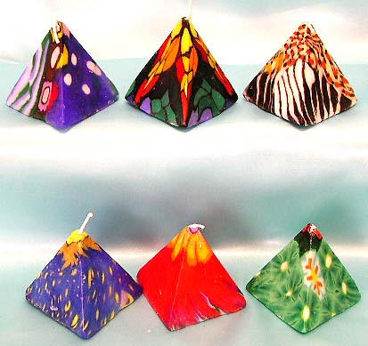 Decorative fashion candle at exclusive price wholesaler supply assorted pyramid shape pattern design fashion candle in set