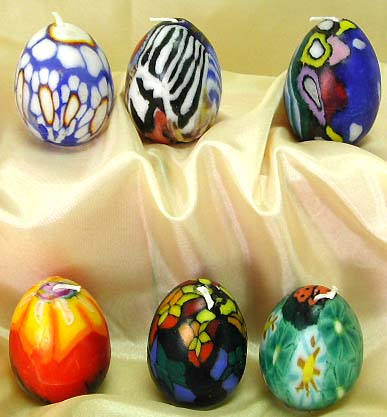 Distinctive design candle fashion shopping at wholesale price supply Easter egg shape candle set, assorted color and pattern design