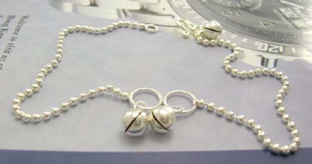Sterling silver anklet lover shopping online wholesale distribute ball-anklet with jiggle bells decor