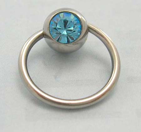 Circular barbells wholesaler supply belly botton jewelry in steel ball closure ring with light blue Cz stone embedded