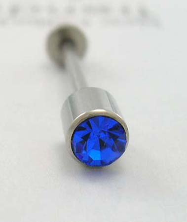 Steel tongue barbells - body jewelry - surgical steel tongue jewelry with blue Cz stone