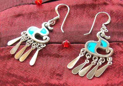 Wholesale jewelry supplier present western style french hook earring with reconstructed turquoise inlaid