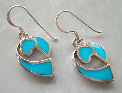 Accessory jewelry fashion wholesale supply silver earrings with reconstructed turquoise inlay