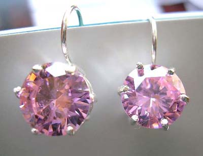 Fine Cz jewelry gift finding wholesale supply purple rounded Cz sterling silver earrings