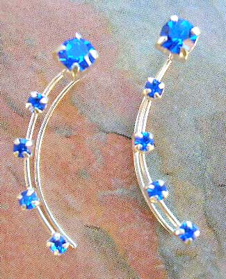 Wholesale fashion jewelry collective sterling silver ear thread with rounded blue Cz