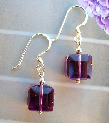 Wholesale supplier fashion crystal jewelry supply cubic purple crystal sterling silver earrings