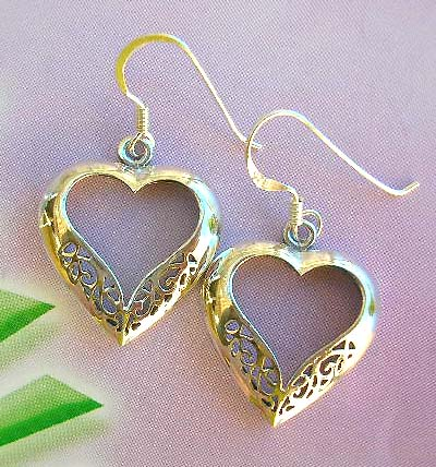 Trendy carved out sterling silver jewelry in heart theme, cut-out silver earrings