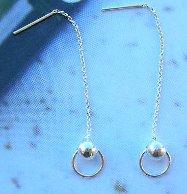 Fine fashion jewelry wholesale supplier sterling silver long earrings holding a silver bead loop
