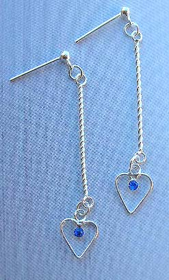 Custume fashion jewelry wholesale supply sterling silver earrings with long string holding blue Cz in heart design
