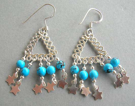 Fine jewelry gift wholesale of native design with reconstructed turquoise silver earrings