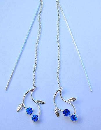 Nature designer threader jewelry wholesale supplier sterling silver threader earrings with blue Cz in leaf design