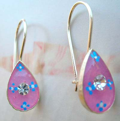 Teens jewelry fashion shopping online supply pinkish enamel water-drop sterling silver earring with clear Cz in middle