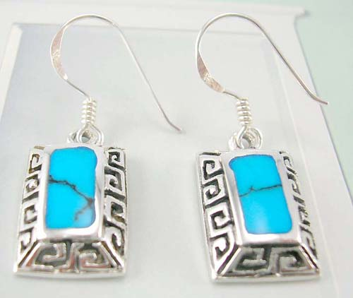 Shop jewelry wholesale supply reconstructed turquoise silver earrings in rectangular shape