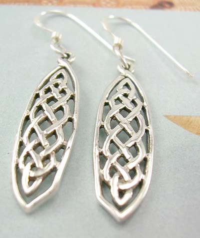 Celtic design jewelry distinctive wholesale supply long olive sterling silver earring with Celtic knot work decor