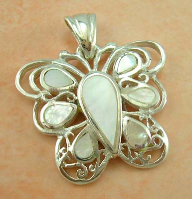 Pearl pendant butterfly jewelry design wholesaler supply white mother-of-pearl sterling silver pendant in butterfly design