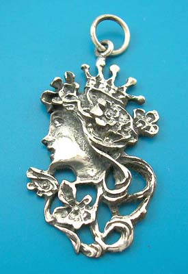 Costume princess sterling silver pendant sideway, lady jewelry gift, 925 stamped sterling silver