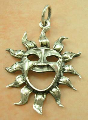 Silver Sun concepts in pendant jewerly wholesale supply cut-out sterling silver sun pendant with face