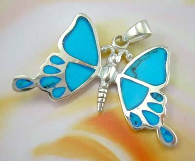 Wholesale turquoise jewelry pendant butterfly design - sterling silver butterfly pendant in turquoise